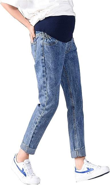 Pantalones De Embarazo Pantalones De Ropa Maternidad Para Mujer Festiva Jeans Vaqueros De Maternidad Rectos Pantalones De Maternidad Elasticos Con Banda Para El Vientre Leggings Para Embarazadas Amazon Es Ropa Y Accesorios