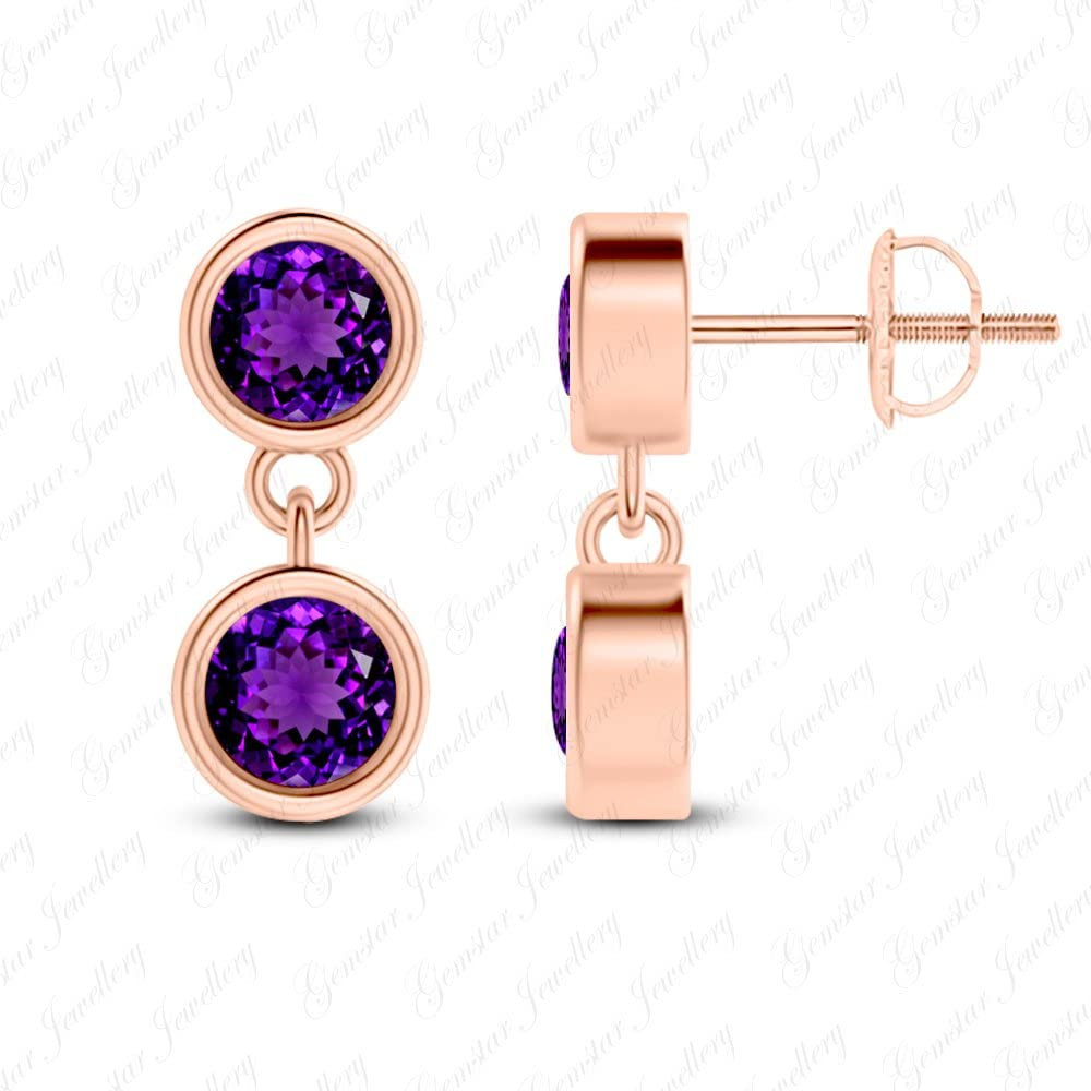 Gemstar Jewellery Round Shape Purple Amethyst 14K White Gold Plating Dangle Bridal Earrings