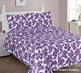 WPM Butterfly Purple bedding set choose from Full/Twin comforter or bed sheets or window curtains panels for kids/girls room (Full sheets)