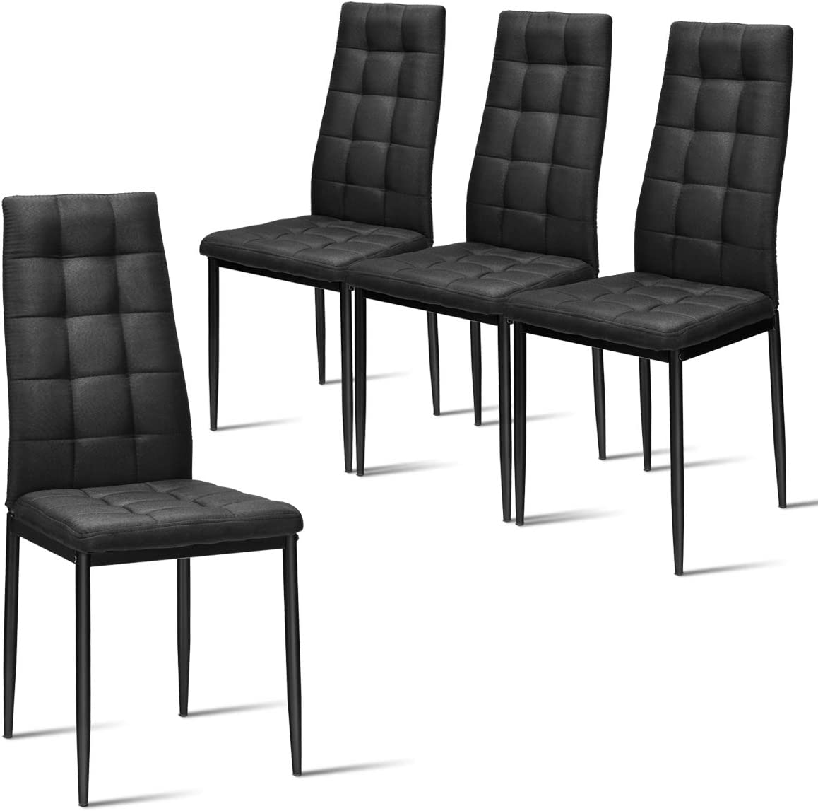 Giantex Set of 4 Fabric Dining Chairs Set, with Upholstered Cushion High Back, Powder Coated Metal Legs, Checked Pattern Seats, Household Home Kitchen Living Room Bedroom Black