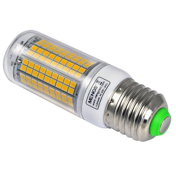 MENGS® Pack de 2 Bombilla lámpara LED 15 Watt E27, 180x2835 SMD, blanca fría 6500K, AC 220-240v: Amazon.es: Iluminación