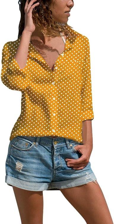 Camisas Mujer Cardigan Mujer Blusa de Manga Larga para Mujer ...