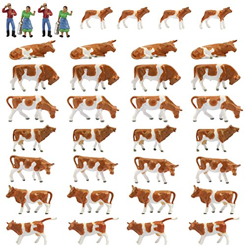 Farm Animals Figure Toys Set,AN8705 36PCS 1:87 Well Painted Model Cows and Figures for HO Scale Model Train Scenery Layout Miniature Landscape NEW
