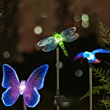 Quace Solar Garden Lights, Hummingbird, Butterfly & Dragonfly Solar Stake Lights, Solar Powered Pathway Lights, Multi-Color Changing Led Lights