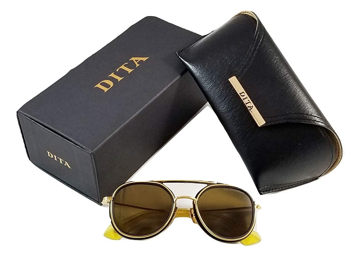 b232af06f0 Dita Spacecraft Sunglasses 19017 for Men and women in Round Gold brushed  frame and Brown Lens  Amazon.co.uk  Clothing