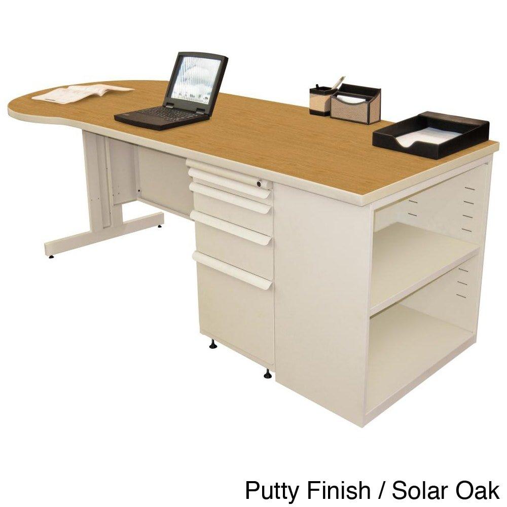 Zapf Computer Desk with Bookcase Laminate Color: Solar Oak, Finish: Pumice, Size: 29'' H x 87'' W x 30'' D