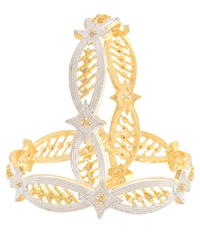 JEWELEYINDIA Bollywood Designer Gold Plated Handmade Bridal Ethnic Indian 2.6 Size Bangle Bracelet Set for Smart Female