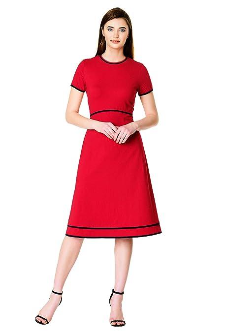 60s Dresses | 1960s Dresses Mod, Mini, Hippie eShakti FX Contrast Trim Cotton Knit Dress - Customizable Neckline Sleeve & Length $69.95 AT vintagedancer.com