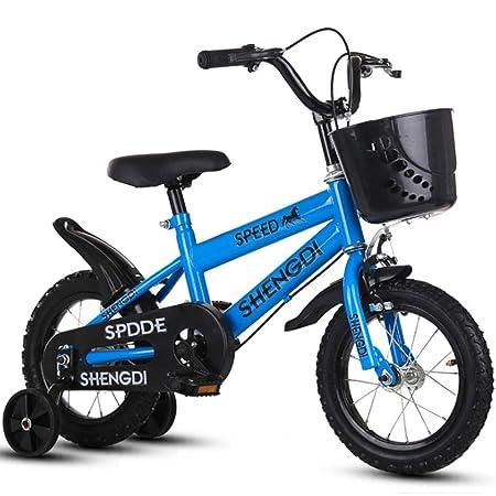 YWZQ Bicicleta para niños, Bicicletas para niños y niñas Asientos portátiles neumáticos Antideslizantes Resistentes Frenos Dobles Seguros y sensibles, Regalos de Juguetes para niños,Azul,14: Amazon.es: Hogar