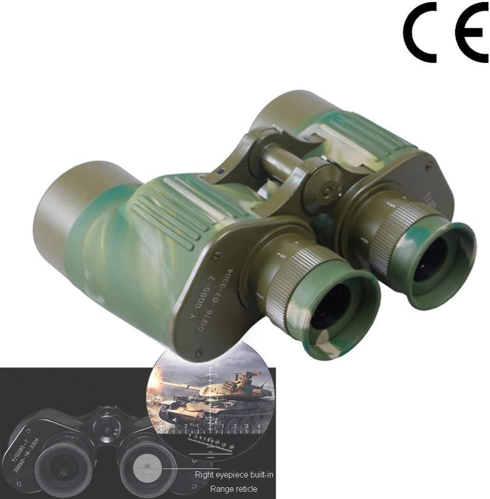 7x40 PrismáTicos, Binoculares Profesionales, Enfoque Binocular Telescopio TeléMetro Militar Prisma Bak4 Ideal para Caminatas Al Aire Libre, Tiro, Viajes, Caza, ObservacióN De Aves,Green