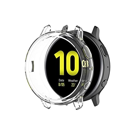 FunDiscount Compatible with Samsung Galaxy Watch Active 2 Case, Soft TPU Crystal Clear Guard Frame Shockproof Cover Bumper Protector Compatible with ...