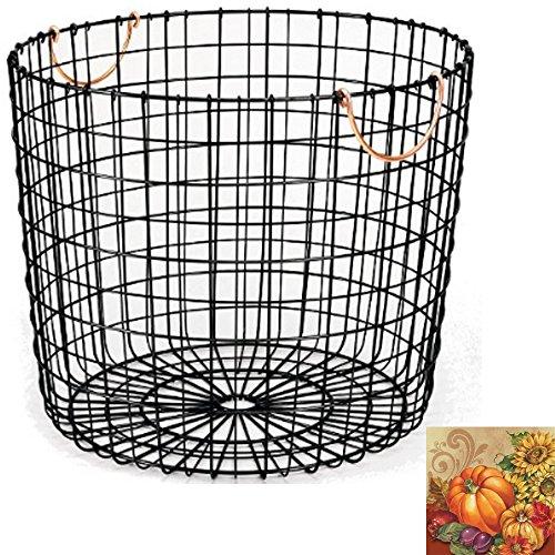 Large baskets Wire Baskets for storage Large storage baskets Decorative Hampers Shelf baskets Fireplaces & accessories Log Basket with Copper Handle - Matte Black - Threshold
