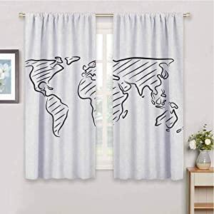DIMICA Printed Curtains World Map Illustration of Outline Sketch of The World Map in Drawing Effect Artwork Print Print Patio Door Curtains Living Room Decor W42 x L63 Inch Black White