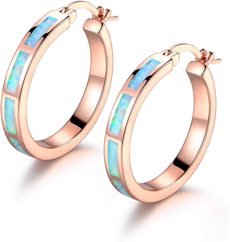 Barzel 18K Rose Gold Plated Created Opal Hoop Earring