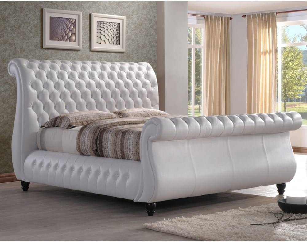 - Time Living 6ft Super King Size Bed White Real Leather - Swan Bed