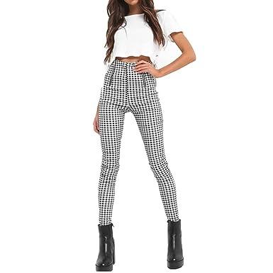 vêtements de sport de performance livraison gratuite le rapport qualité prix Femme Pantalons de Travail Occasionnels/Skinny Pencil Pants/Pantalon  Extensible Taille Haute/Zipper avec Pied-de-Poule Classique