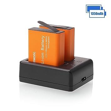 CAMKONG Cámara Deportiva Batería 2X1350mAh Acción Cámara Recargable y Cargador USB para AKASO,APEMAN, ...