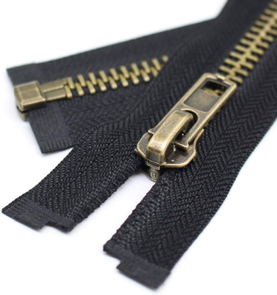 26 Anti-Brass YaHoGa 2PCS #5 26 Inch Antique Brass Separating Jacket Zipper Y-Teeth Metal Zippers for Jackets Sewing Coats Crafts