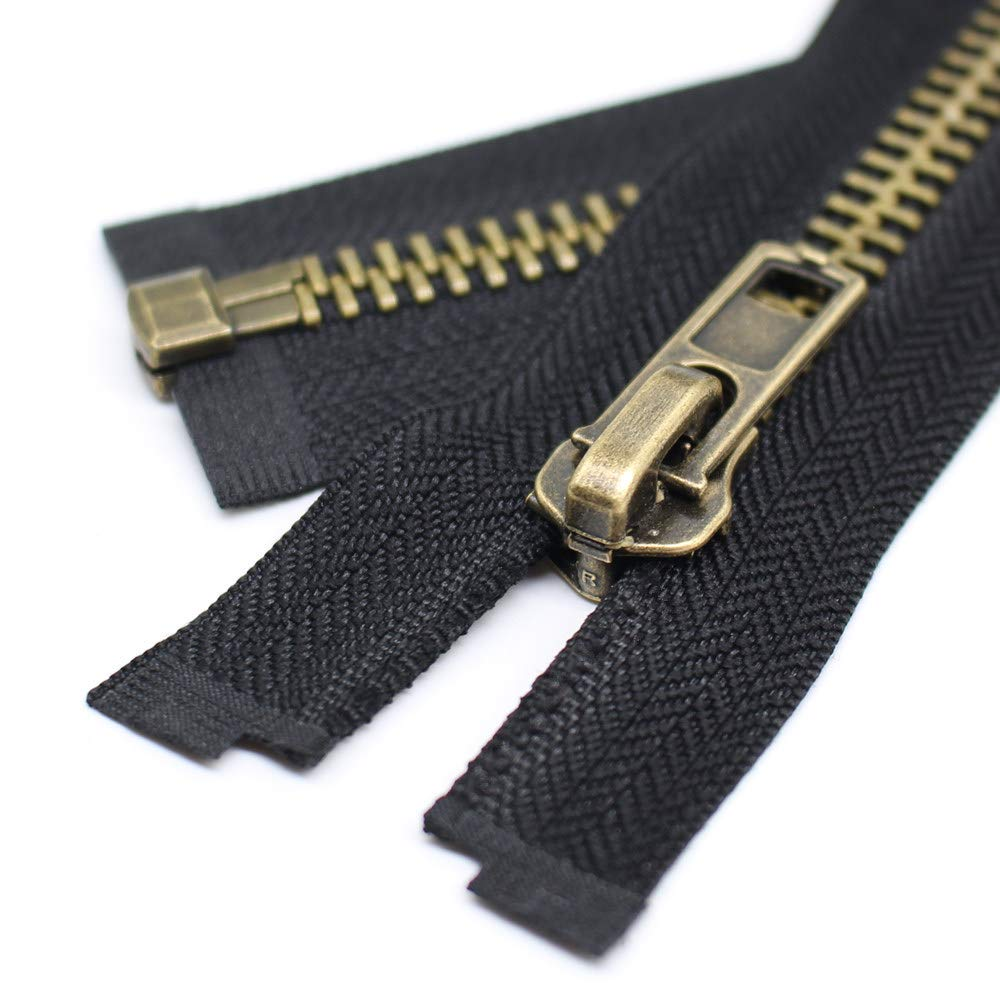 22 Anti-Brass YaHoGa #8 22 Inch Anitique Brass Separating Jacket Zipper Y-Teeth Metal Zipper Heavy Duty Metal Zippers for Jackets Sewing Coats Crafts