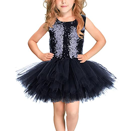 9ca2dd0ee IBTOM CASTLE Little Girls' Flower Sequin Party Wedding Baby Princess Tutu  Tulle Dress Costume Birthday