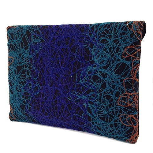 Envelope Ombre color Blue Clutch Fabric Mixed Bohemian IgxnwgqF8