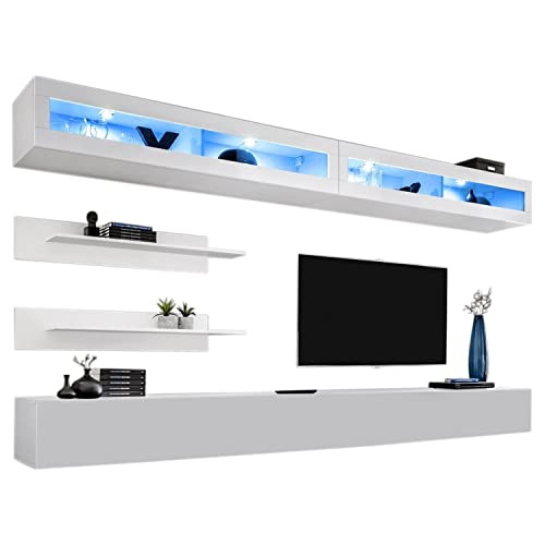 MEBLE FURNITURE RUGS Wall Mounted Floating Modern Entertainment Center Fly I White, I2