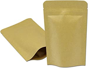 50 Pieces Mylar Bag Kraft Paper Foil Inner Self Standing Resealable Zipper Pouch Food Stand Up Bags for Packing Candy Biscuits Food with Notch (4.3x7.3 inch, Brown)