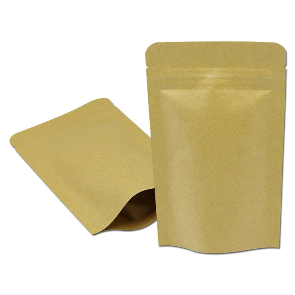 200 Pcs Stand Up Inner Mylar Foil Kraft Paper Zipper Package Bag Airtight Zip Lock Stand-Up Food Storage Pack Aluminum Foil Heat Seal Tear Notches Packaging Bag 20x25cm (7.9''x9.8'') by BAT Pack