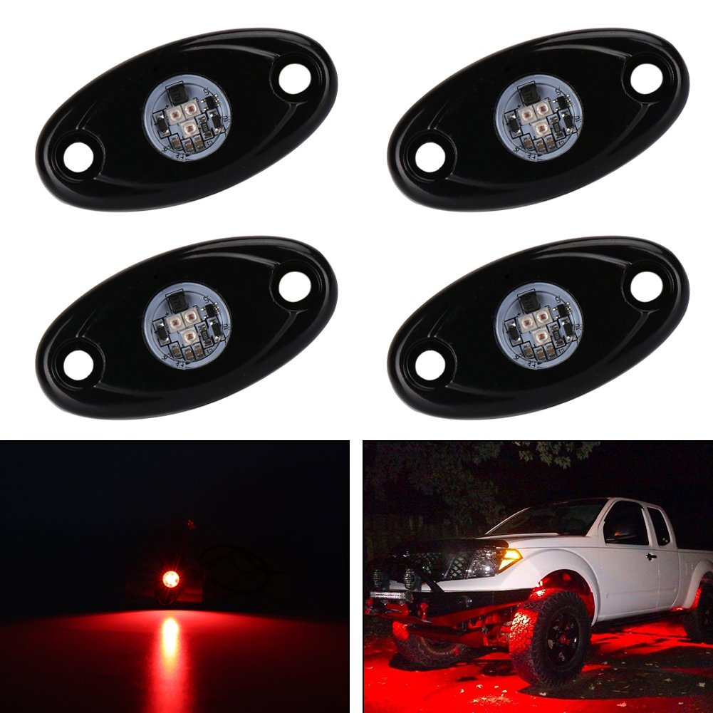Catinbow LED Rock Light with 4 Pods Light Waterproof IP68 Car Truck JEEP ATV SUV UTV Offroad Motorcycle Underbody Glow Trail Rig Lights - White