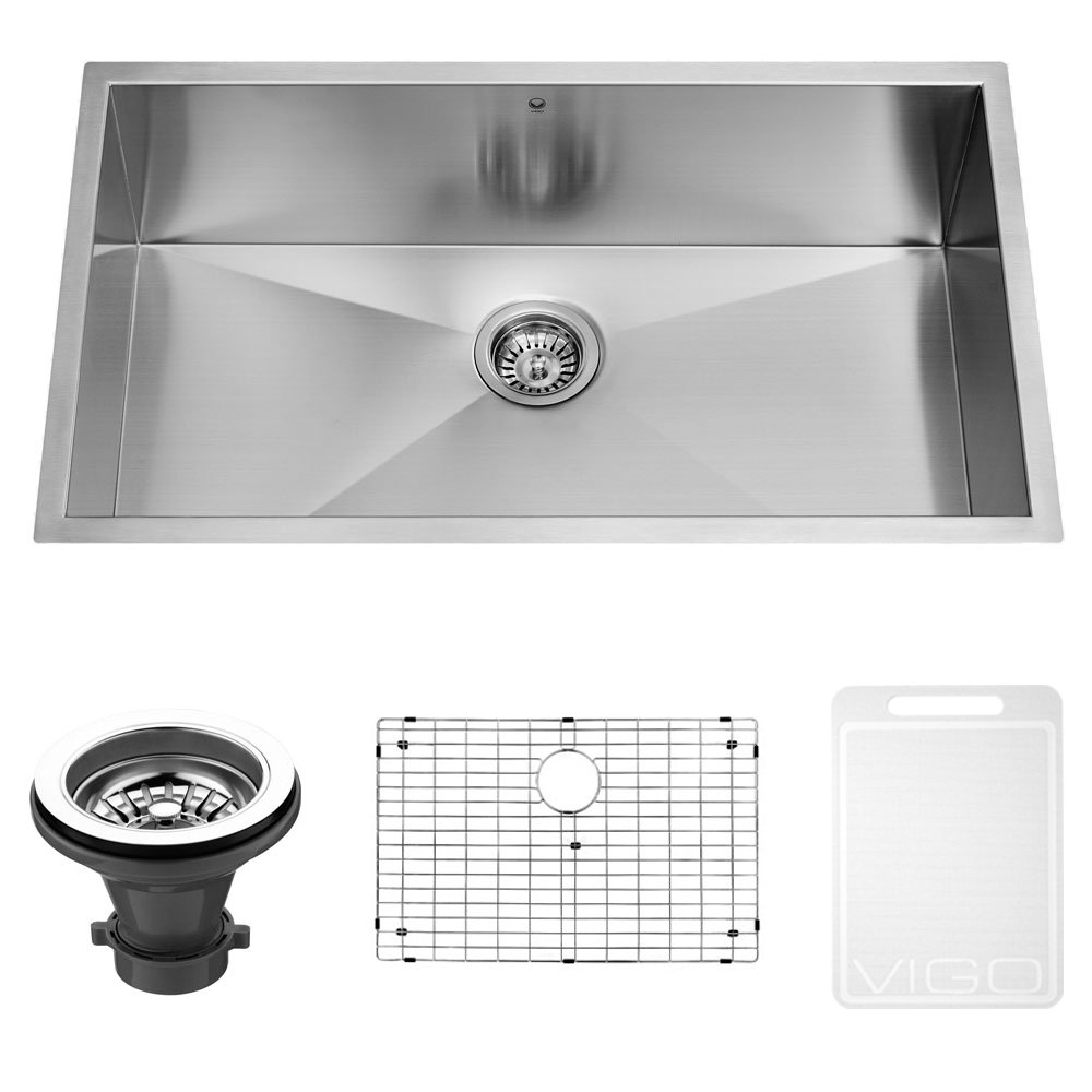 VIGO 32 Inch Undermount Single Bowl 16 Gauge Stainless Steel Kitchen Sink  With Grid And Strainer   Single Bowl Sinks   Amazon.com