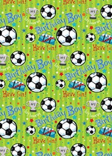 The Wrap Pack Papel de Regalo con diseño de balones de fútbol, Estrellas y trofeos, 2 Hojas y Etiqueta a Juego: Amazon.es: Hogar