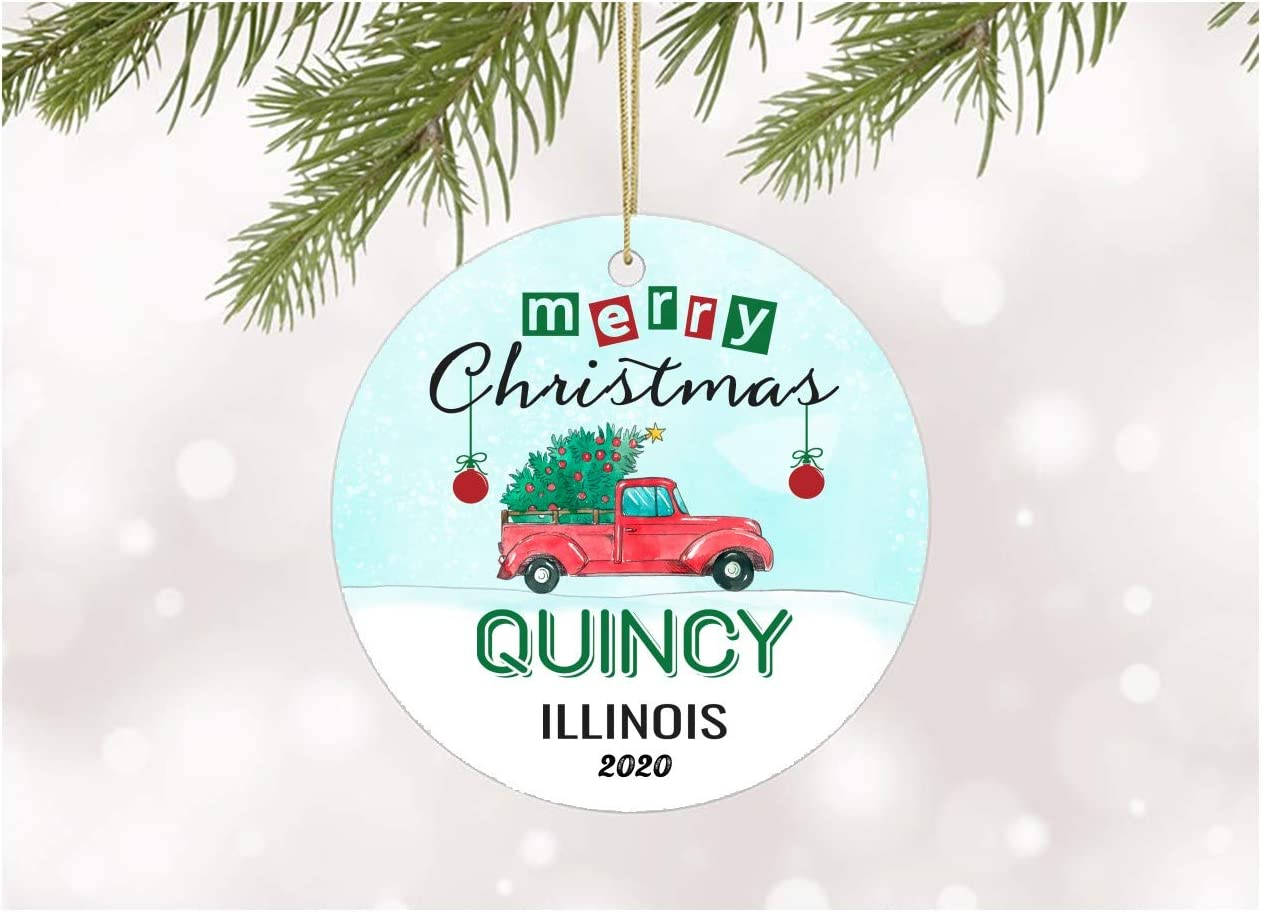 Amazon Com Decoration Ornament Tree Merry Christmas 2020 Quincy Illinois Ornaments With State Name Printed Gift Xmas Decor Merry Christmas Decorations For Home Mdf Plastic 3 White Kitchen Dining