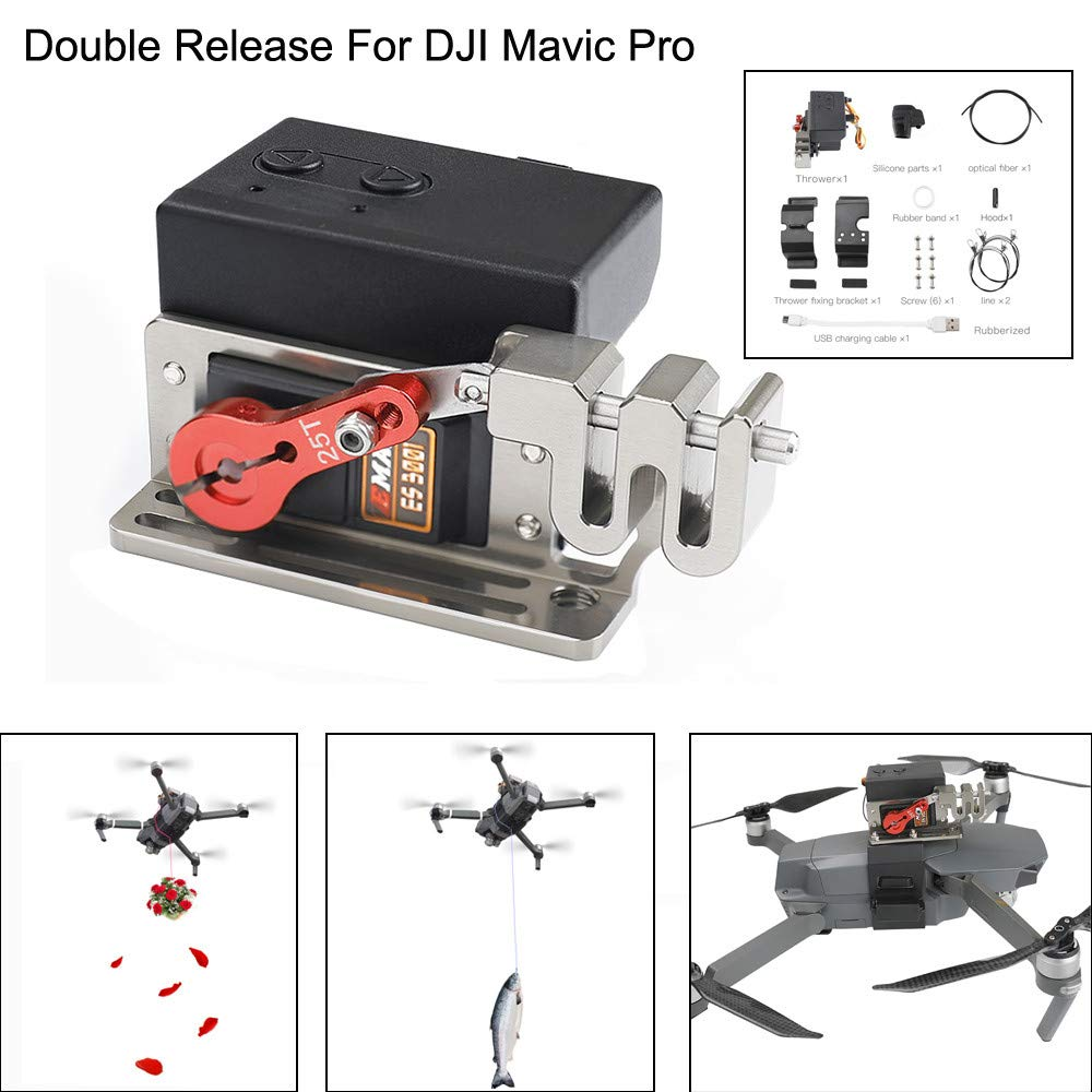 Fullwei Upgraded Double Release Thrower Servo Controlled Dropper Device For DJI Mavic Pro Drone Dropping System (Black)