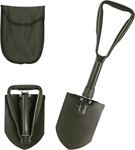 CAMPMAX Military Camping Folding Shovel,Multifunctional Portable Entrenching Tool Lightwight for Outdoor Hiking with Cover,Green 2.5lbs