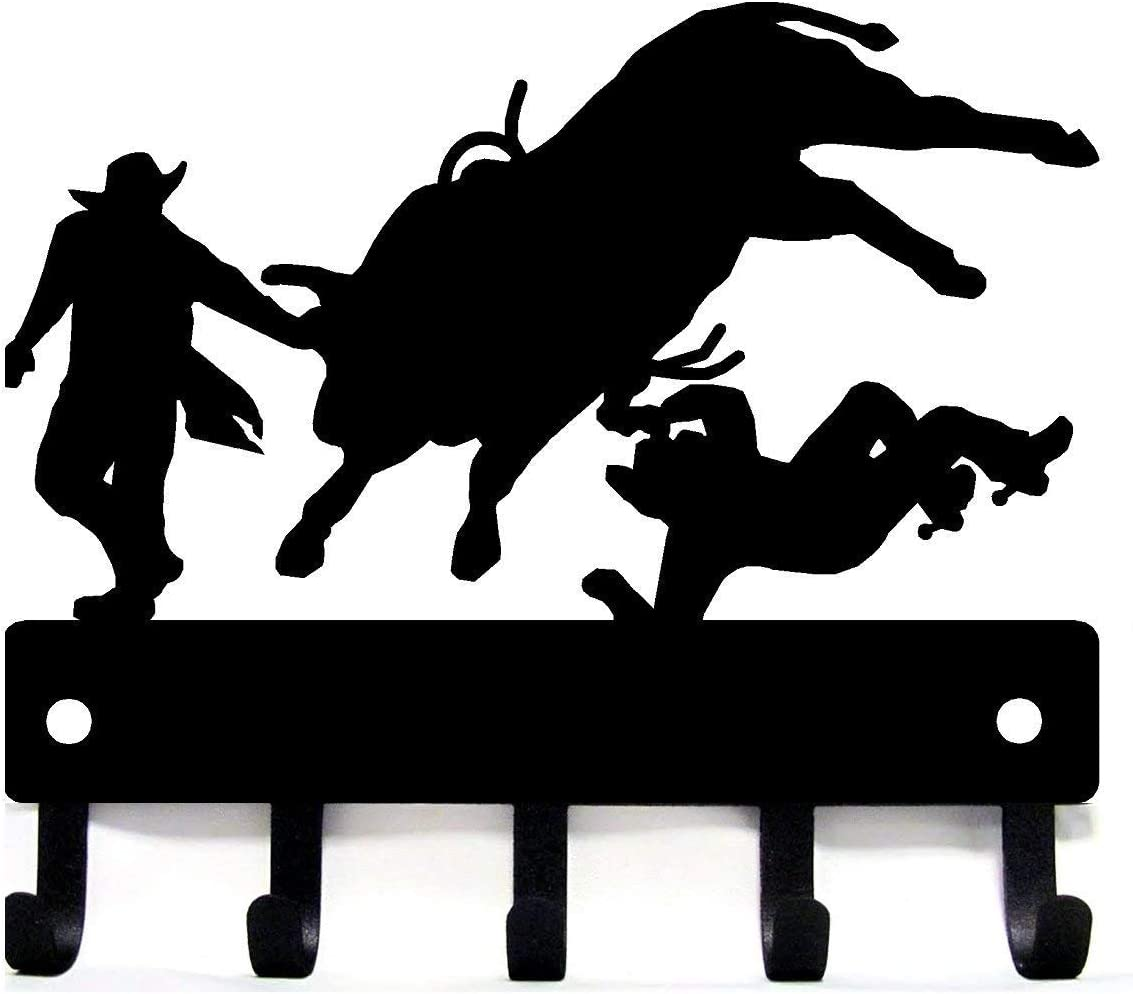 The Metal Peddler Cowboy Bull Rider Rodeo Clowns - Key Rack Hanger - Large 9 inch Wide - Made in USA
