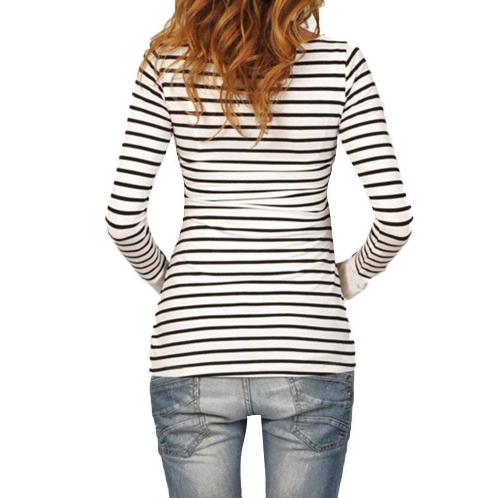 Hotsellhome Womens Ladies Mom Pregnant Nursing Baby Maternity Long Sleeved Stripe Blouse Pullover T Shirt Cotton Comfy Breastfeeding Tops Clothes