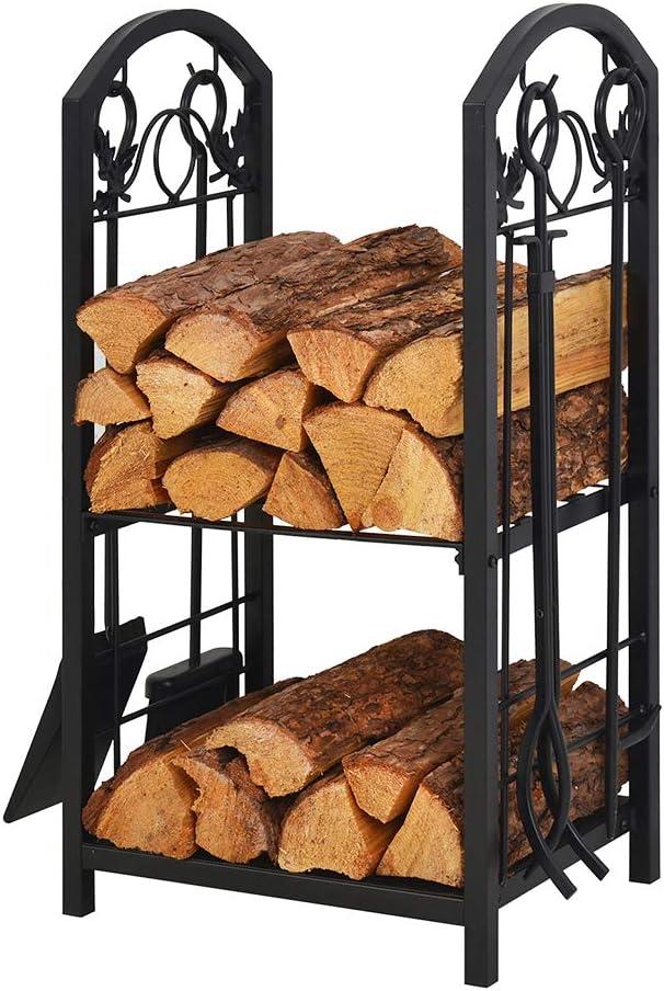 Amazon Com Patio Watcher Firewood Rack Log Rack With 4 Tools Firewood Storage Log Holder For Indoor Outdoor Backyard Fireplace Heavy Duty Steel Black Home Improvement