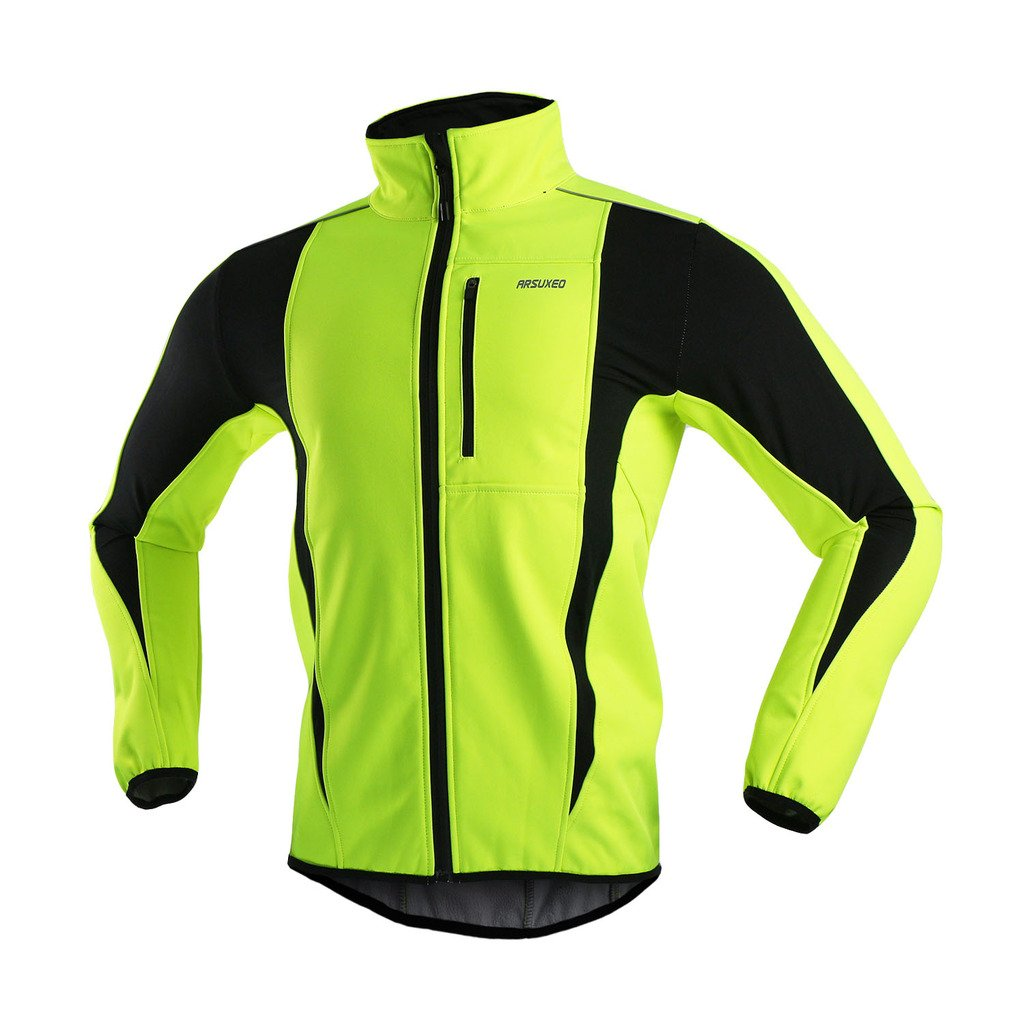 ARSUXEO Winter Warm UP Thermal Softshell Cycling Jacket Windproof Waterproof Bicycle MTB Mountain Bike Clothes 15-K Green Size Small