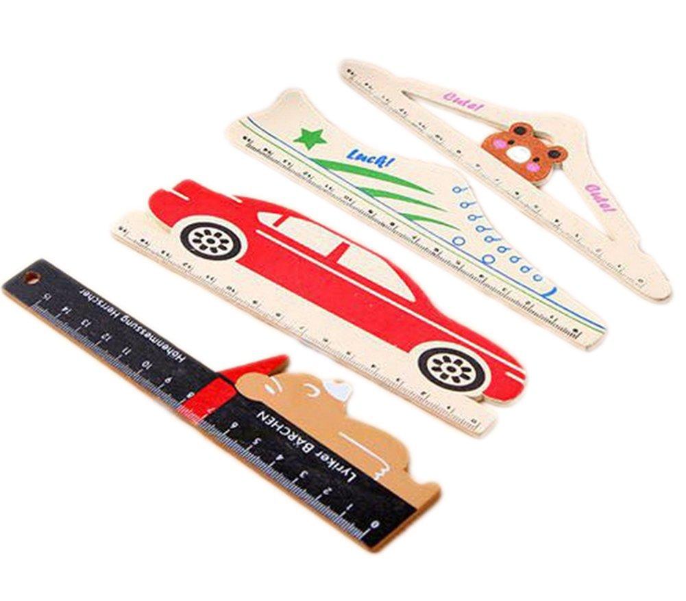 Drawihi Cartoon legno righello con motivo animali per ufficio, scuola, confezione da 4 Style auto scarpe Bear confezione da 4Style auto scarpe Bear