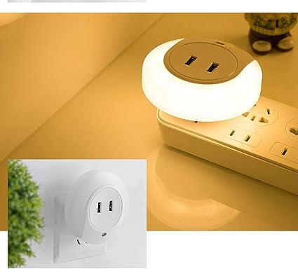 aigu ozer® Luz nocturna LED Noche Lámpara portátil con 2 USB cargador Detector de movimiento
