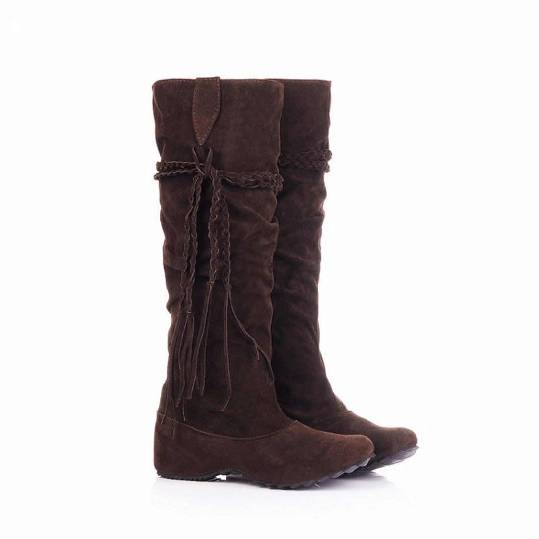 The increase in size of winter scrub fringed boots high boots students US6 / EU36 / UK4 / CN36|Brown (suede)