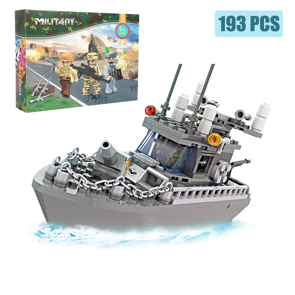 Army Toys Battleship Building Blocks Coast Guard Warship with Solid Hull and Deck Building Set Fun Preschool Educational toys for Boys and Girls 6-12 193 Pcs