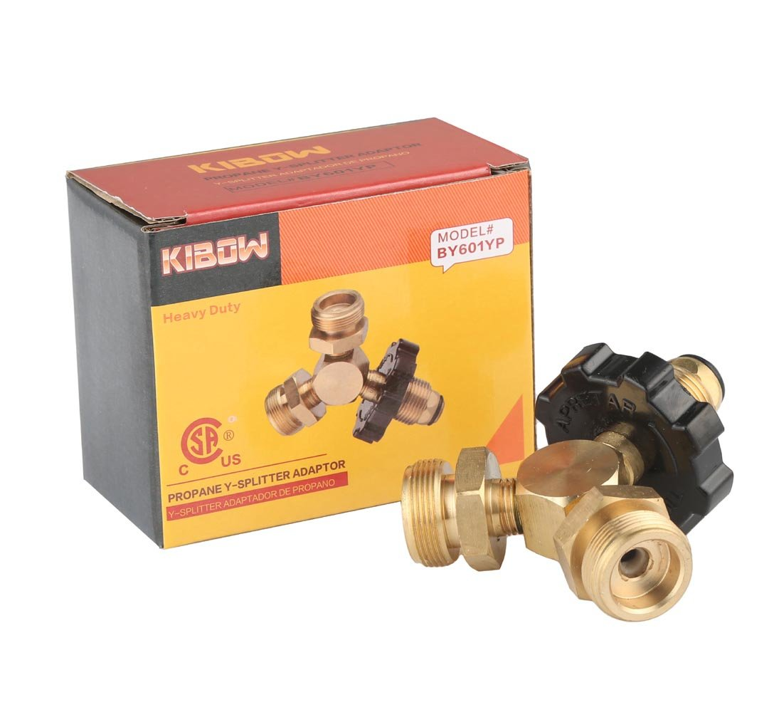 KIBOW Propane Y-Splitter Tee Adapter with P.O.L Connector and 2X1-20 Male Throwaway Cylinder Thread-100/% Solid Brass