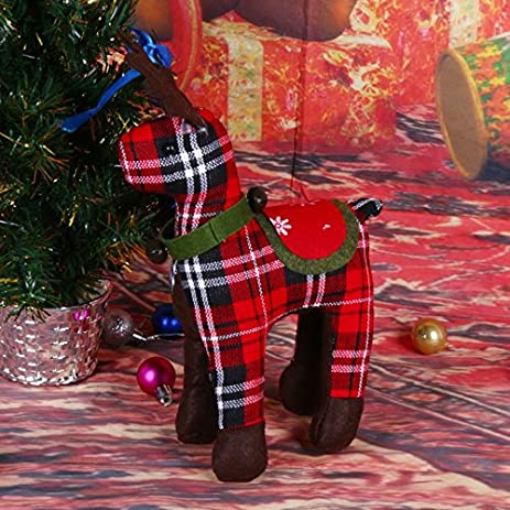 xiaolanwelc christmas home window decorations plaid deer sitting doll plush toys ornaments christmas decorations for - Christmas Window Decorations Amazon