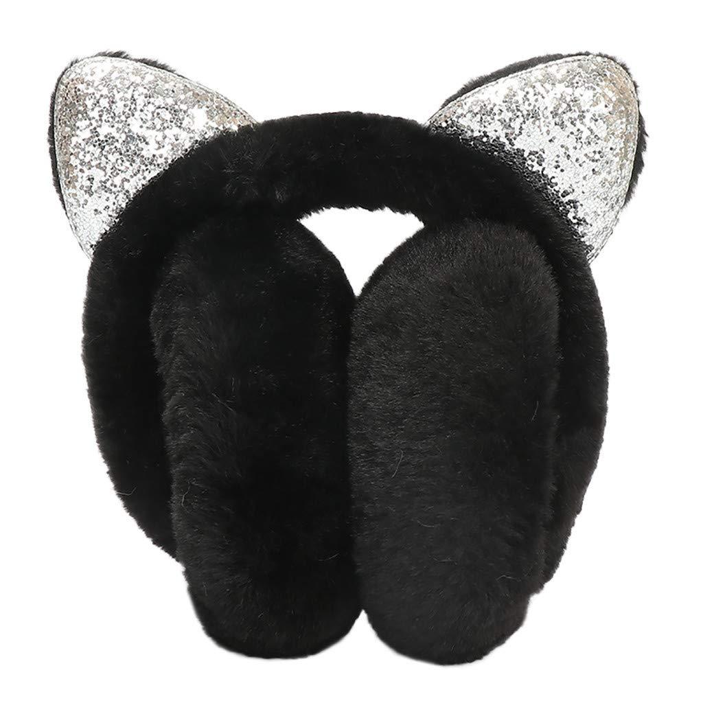 Hosamtel Women Cute Cat Ears Design Windproof Winter Warm Faux Fur Adjustable Earmuffs (Black)
