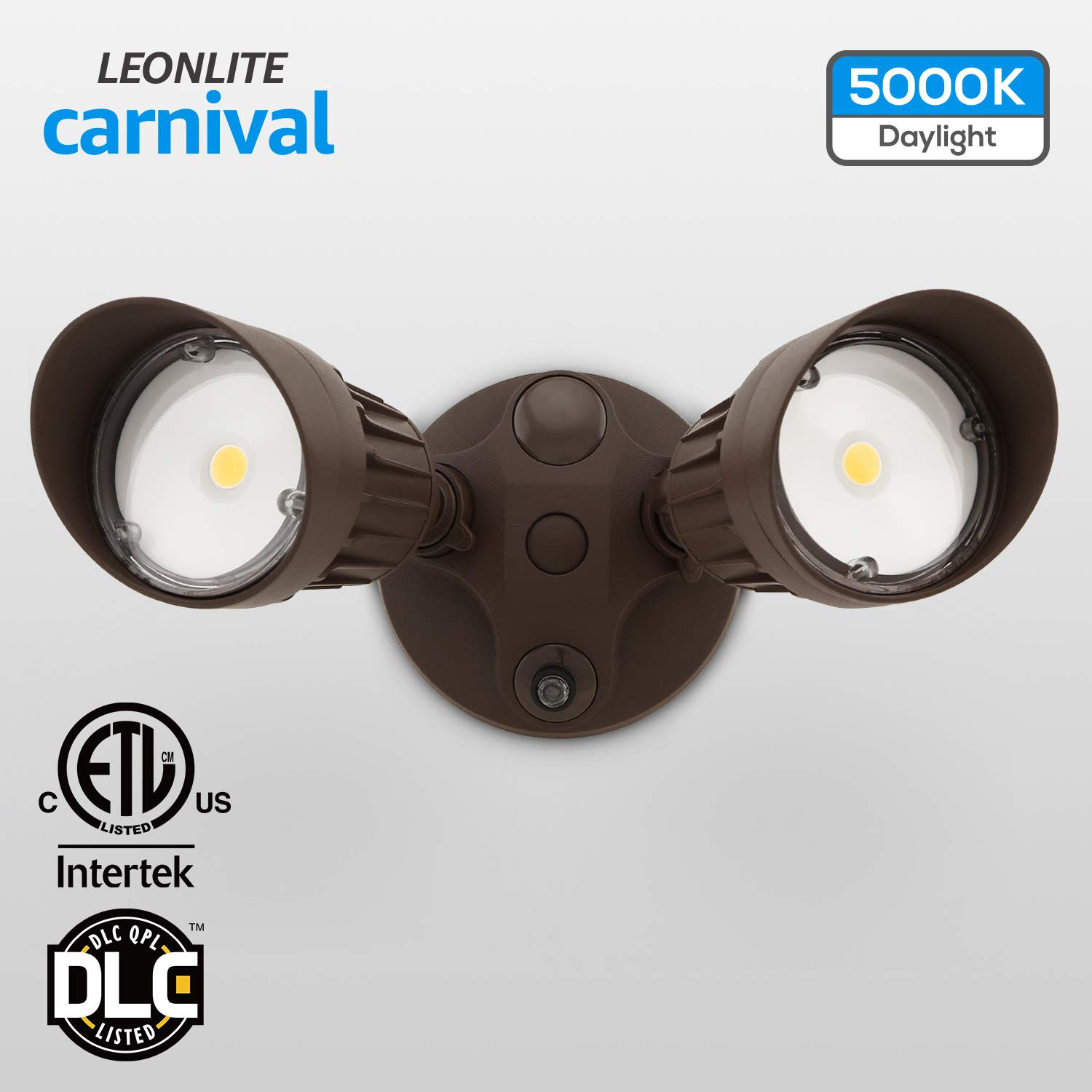 20w Dual Head Dusk To Dawn Led Outdoor Security Light Photocell Dlc Listed Exterior Lamp 120w Halogen Equiv 5000k Daylight 1600lm Floodlight