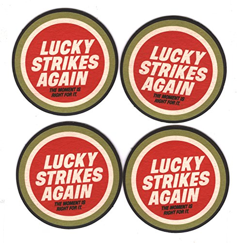 Lucky Strike Cigarettes Set of 4 Vintage Bar Coasters