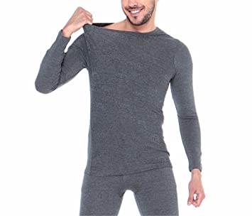 YMFIE Simple Europea ropa interior térmica de Hombres camiseta de manga larga traje pantalón L-