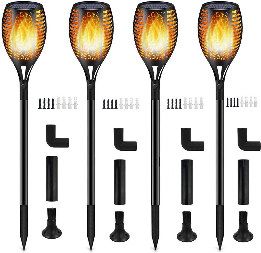 Solar Lights,Waterproof Flames Torches Lights Outdoor Solar Light Landscape Decoration Lighting Dusk to Dawn Auto On/Off Security Torch Light for Pathway, Patio, Yard, Garden (Yellow, 4 Packs) by Toplife