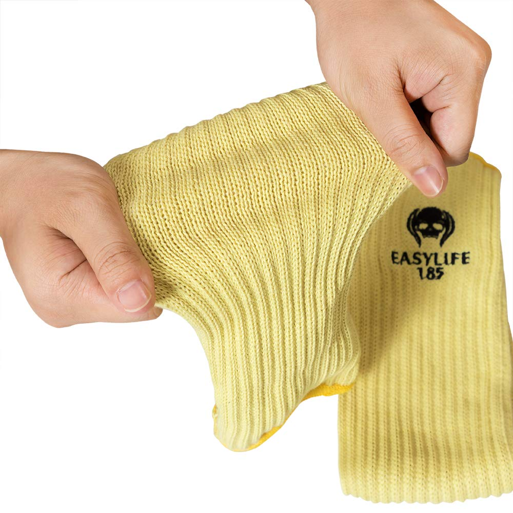 2PACK(1Pair) 100% Kevlar Arm Sleeves Protection Cut Resistant Knit Sleeve 18-Inch Long with Thumb Slot Helps Prevent Scrapes ,Scratches Skin Irritations UV-Protection Yellow by EasyLife185 (Image #7)
